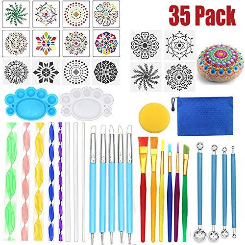 Monarchy Mandala Dotting Tools Schablone, Rocks Mandala Malbürsten Werkzeugsätze mit Farbwanne zum Malen Färben Zeichnen und Zeichnen von Kunstgegenständen (35 Pcs)