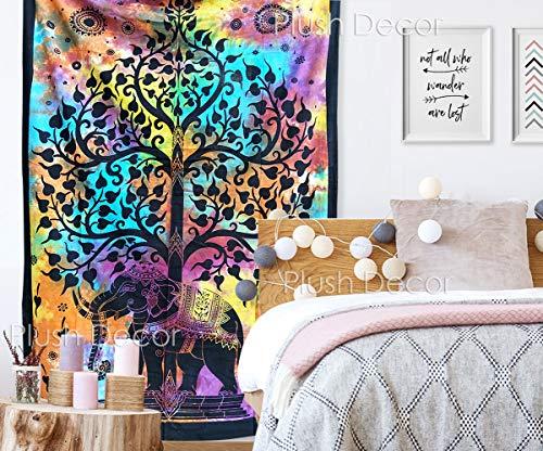 Multi Tie Dye Elephant Tree Tapestry Twin Bedspread Tapestries Bohemian Hippie Beach Throw Boho Table Cover