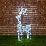 Stehendes Rentier, 200 Leds kaltweiß, Höhe 90 cm, mit Kopfbewegung, Weihnachtsfiguren, 3D Led Figuren, Weihnachtsbeleuchtung Außen