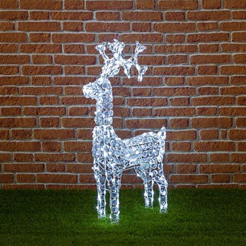 XMASKING Renna con Cristalli, Testa Rotante, 200 LED Bianco Freddo, H 90 cm, soggetti Natalizi Luminosi, Figure Luminose 3D