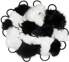 FursNewYork Fox Ponytail Holders & Device/Purse Pom Poms in Black & Ivory w/Elastic Cord (Set of 6,12,24)