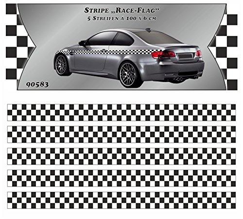 carstyling XXL Race-Flag-Stripe Streifen 5 m x 60 mm ~ schneller Versand innerhalb 24 Stunden ~