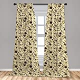 Ambesonne Modern Curtains, Contemporary Coffee Cups Polka Dots and Beans Roasted Graphic Design, Window Treatments 2 Panel Set for Living Room Bedroom Decor, 56' x 63', Brown Cream