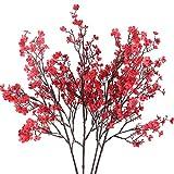 HUAESIN 4pcs Gypsophile Artificielles Fleurs Bouquet Plante Artificielle Rouge Décoration Mariage Maison Fête Composition Florale