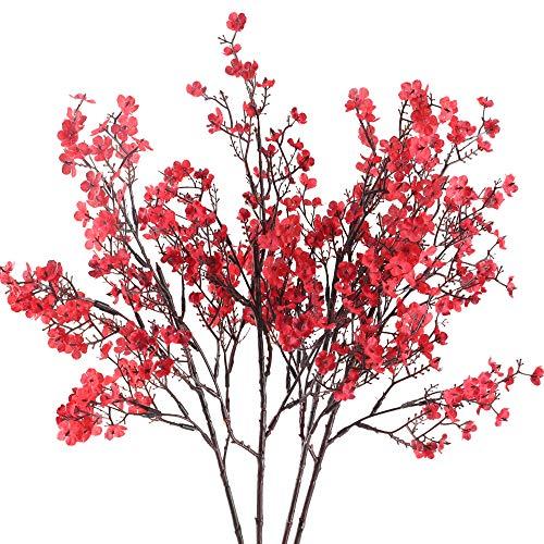 HUAESIN 4pcs Flores Artificiales Decoracion Pequeñas, Rama de Arbusto Plastico con Flores de Gypsophila Rojas 52cm Falsa Baby's Breath Orquideas para Exterior Interior Boda Fiesta Jarrones Hogar