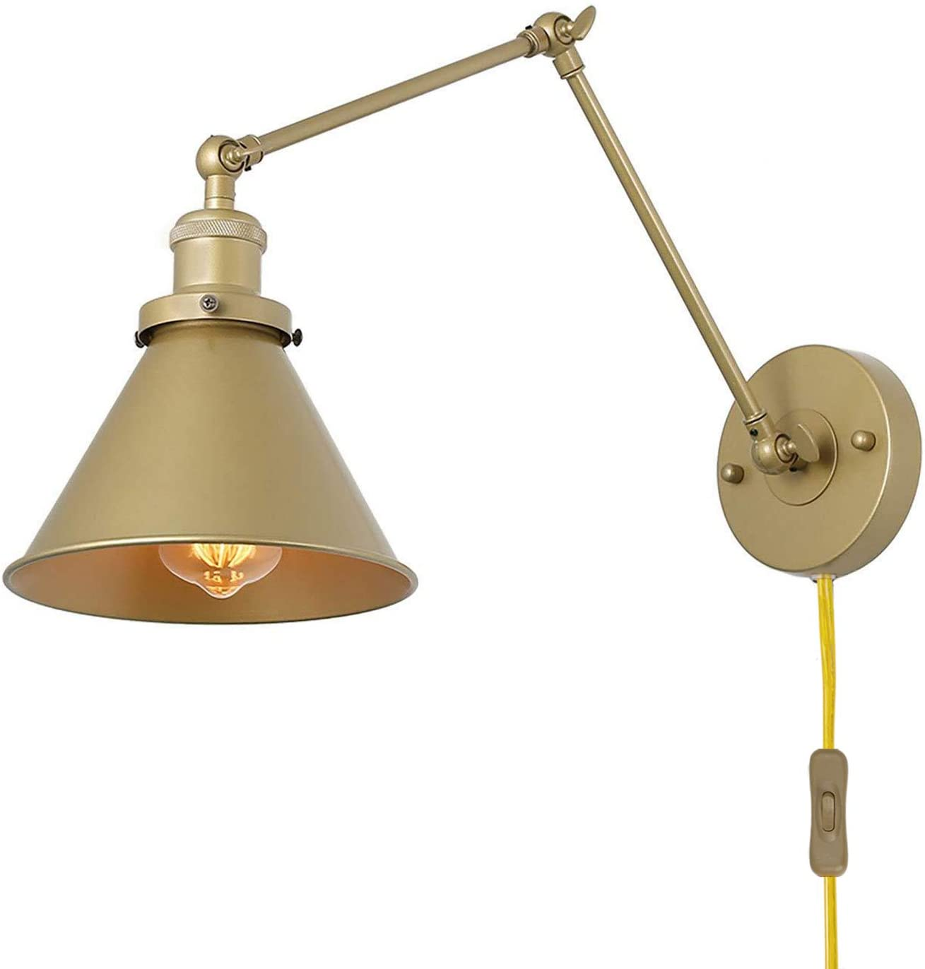 LNC Swing Arm Wall Sconce Lighting Max 88% OFF favorite Plug-in Gold Lamp Adjustable