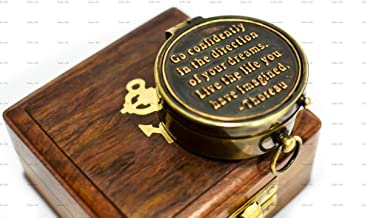 World Of Vintage Antique Brass Pocket Compass with Wooden Box