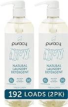 Puracy Natural Liquid Laundry Detergent, Hypoallergenic, Effective, Fresh Linen, 24 Ounce (2-Pack)