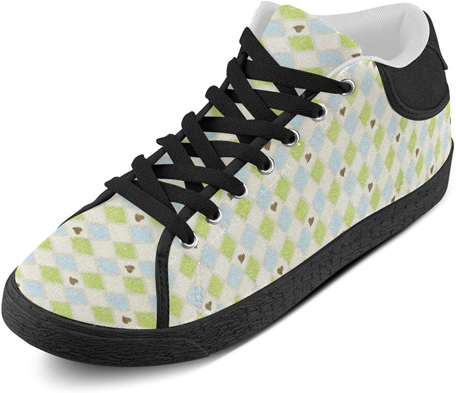 CERLYRUAN Square and Hreat Canvas Chukka Canvas Women's shoes