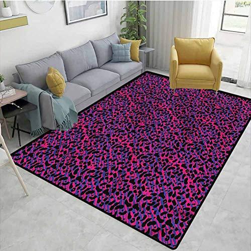TableCoversHome Alfombra de área floral suave, diseño de safari de los años 80, alfombras duraderas, para salón, comedor, oficina, habitaciones y dormitorios, alfombra de pasillo (3'x 8')