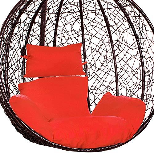 Springosr, cuscino per altalena sospesa, cuscino rosso, cuscino con poggiatesta, cuscino per dondolo in polyrattan/rattan, poltrona sospesa, cuscino per schienale, poggiatesta (rosso)