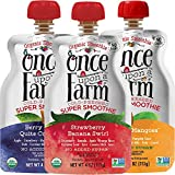 Once Upon a Farm Organic Kids | Strawberry Banana, Blueberry, Mango | Dairy Free Super Smoothie Pouch | Cold Pressed | Refrigerated | For Kids | Variety Pack of 16