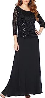 Roamans Women's Plus Size Lace Popover Dress Formal Evening