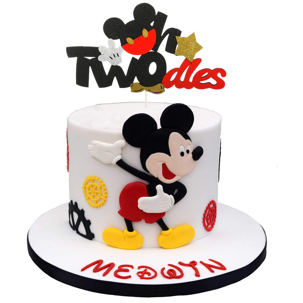 Glitter Twodles Cake Topper Mickey Birthday Cake Decor 2nd Cake Decorations Baby Boy Second Birthday Party Supplies Buy Online In India At Desertcart Productid 191395654