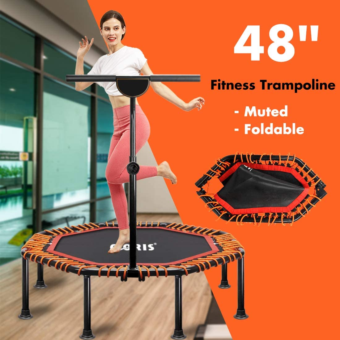 CLORIS Foldable Fitness Trampoline Mini Portable 50 Load 400 lbs Trampoline with Adjustable Handle Exercise Rebounder for Indoor//Garden//Workout with Knee Pad