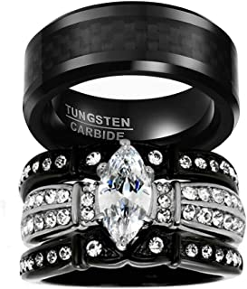His and Hers Wedding Ring Sets Couples Matching Rings Black Women's Black Cubic Zirconia Wedding Engagement Ring Bridal Sets & Men's Tungsten Carbide Wedding Band