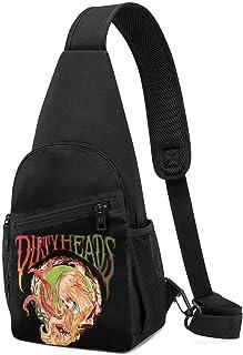 Hdadwy Dirty Heads Hombres Mujeres Crossbody Sling Mochila Sling Bag Travel Senderismo Bolsa de pecho Mochila negra