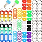 96 Pieces Key Cap Covers Kit Silicone Key Covers Silicone Key Tag Key Covers Metal Key Rings Identifiers for Keys Organization, Assorted Colors