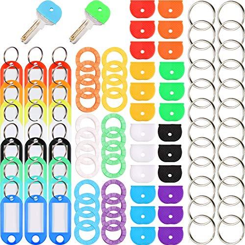 Kit de 96 Cubiertas de Tapa de Llave Cubiertas de Silicona de Llave Etiqueta de Llave Cubiertas de Llave de Silicona Llaveros de Metal Identificadores para Organización Llaves, Colores Variado