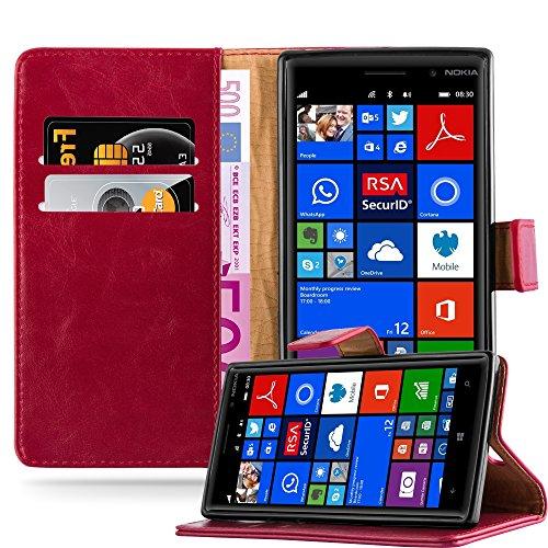 Cadorabo Hülle für Nokia Lumia 830 in Wein ROT – Handyhülle mit Magnetverschluss, Standfunktion & Kartenfach – Hülle Cover Schutzhülle Etui Tasche Book Klapp Style