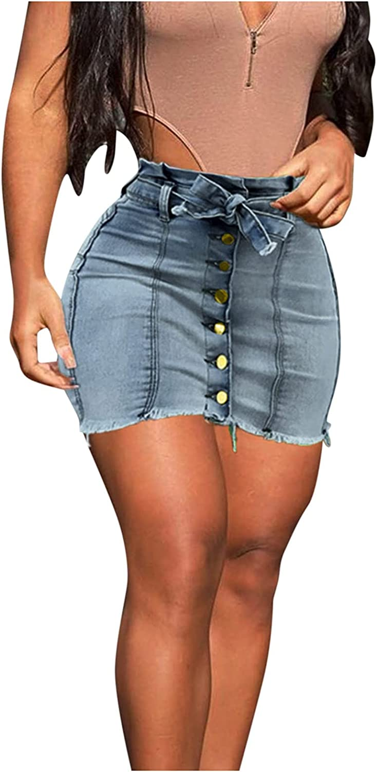 Euone_Clothes Dresses for Summer, Women's Soft Stretchy Denim Jean Pencil Skirt Tummy Control Lacing Hip Skirt