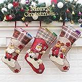 Calze di Natale Set di 3: Babbo Natale, pupazzo di neve e renne. È la stagione per agganciare le calze più carine per la tua mensola del camino. Tra Babbo Natale e i suoi amici, c'è un personaggio che tutti nella tua famiglia adoreranno. Buona qualit...