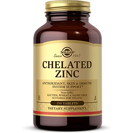 Solgar Chelated Zinc, 250 Tablets - Zinc for Healthy Skin - Supports Cell Growth & DNA Formation - Exerts Antioxidant Activity - Supports A Healthy Immune System - Non GMO, Vegan - 250 Servings