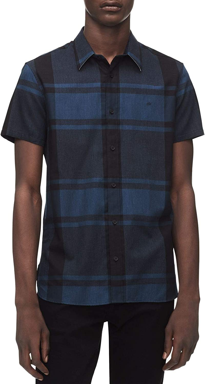 Calvin Klein Men's Short-Sleeve Woven Check Shirt Button Down Seattle Mall trust