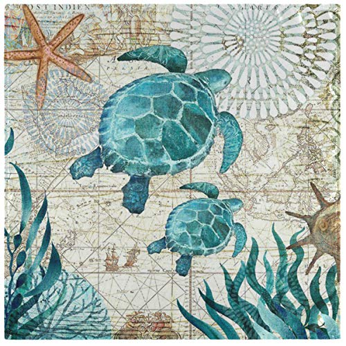 ZzWwR Vintage Ocean Two Sea Turtles Starfish Map Cloth Napkins, Set of 6 20 x 20 Inch Soft & Comfortable Polyester Dinner Napkin for Family, Restaurant, Weddings, Parties, Holiday Dinner