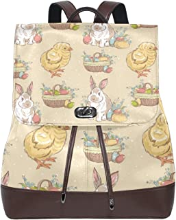 FAJRO Mochila de Piel para Pascua Vintage Eggs Bunny Chick