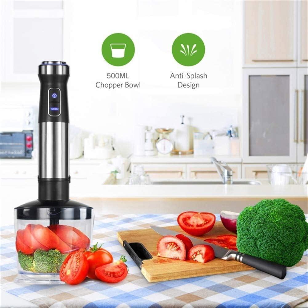 Batteur Electrique de Cuisine 4 en 1 Alimentation électrique Portable Mixer Juicer Mélangeur à main Cuisine amovible Fouet Robot culinaire 1100W Sans BPA (Color : Silver) Silver