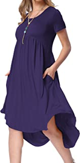 53581cc6758884 levaca Women s Scoop Neck Pockets High Low Pleated Loose Swing Casual Midi  Dress