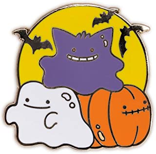 Suugr Studio Ditto Halloween Premium Hard Enamel Pin, Gengar Ghost Pumpkin, Purse Brooch, Lanyard Pins, Collectible Buttons, Collar Shirt Pins, Original Artwork