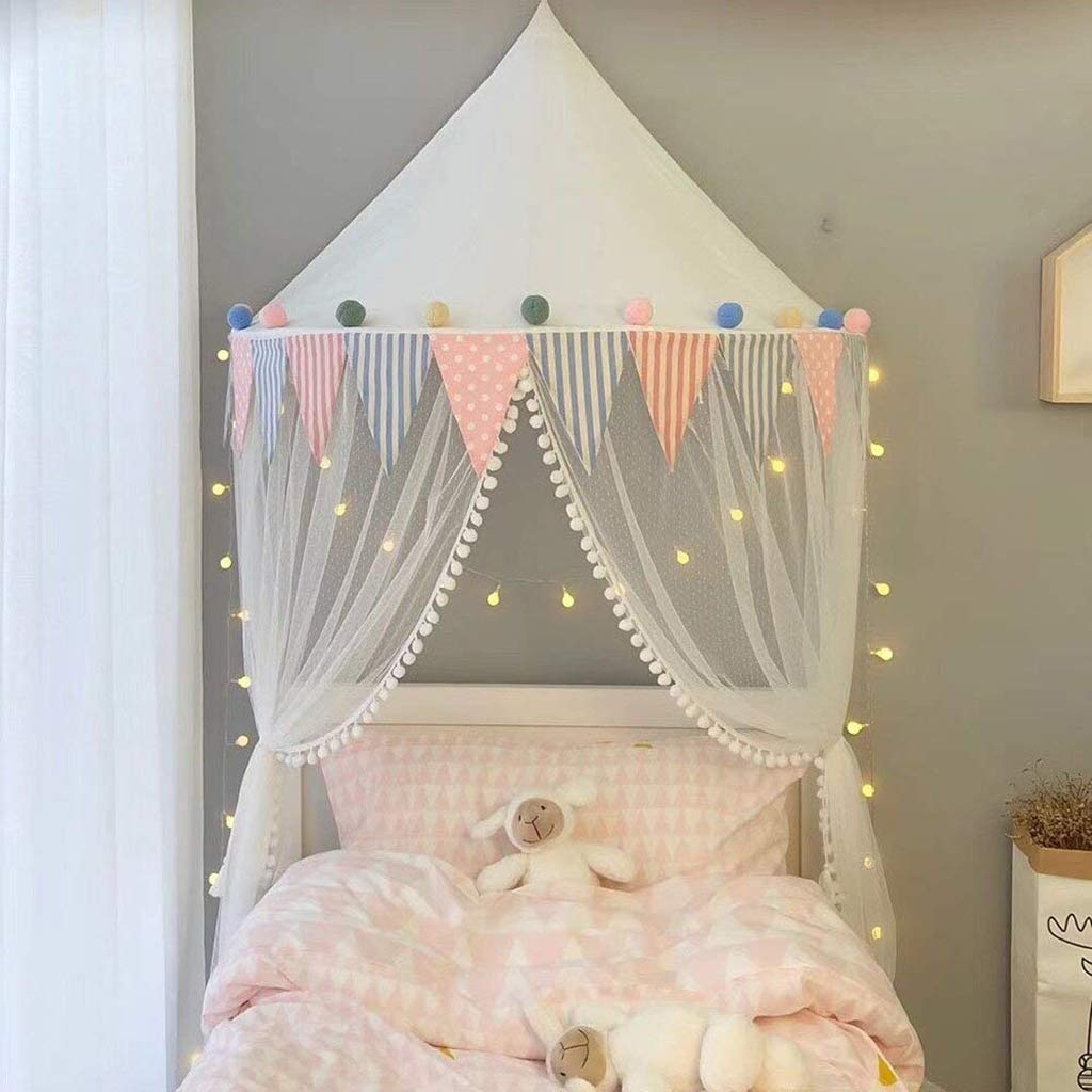 Bed Canopy Lace Mosquito Net with Gauze Curtain Unique Pendant Play Tent Bedding for Kids Playing Reading with Children Round Dome Netting Curtains Baby Boys Girls Room Decoration,White