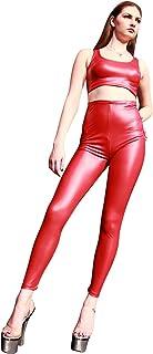 no-branded Women`s Latex Rubber Zipper up Trousers Long Pants LCMUS (Color : Black, Size : L)