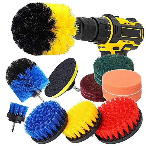 Drill Brush Attachment Set 15 Pcs Power Scrubber Drill Brush Kit for Cleaning Bathroom Surfaces Floor Tub Shower Tile Kitchen Automotive Grill Fits Most Drills