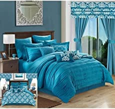 Chic Home Hailee 24 Piece Comforter Complete Bed in a Bag Sheet Set and Window Treatment, Queen, Teal