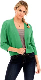 NANAVA Women's Solid Soft 3/4 Sleeve Open Front Cropped Cardigan