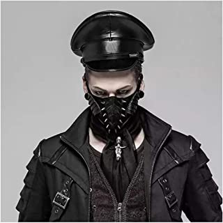 Retro Crow Punk Hat Leather Germany Officer Visor Cap Army Hat Cortical Military Hat Police Cap Cosplay Halloween Hat Size M L XL (Color : Silver, Size : 59cm)