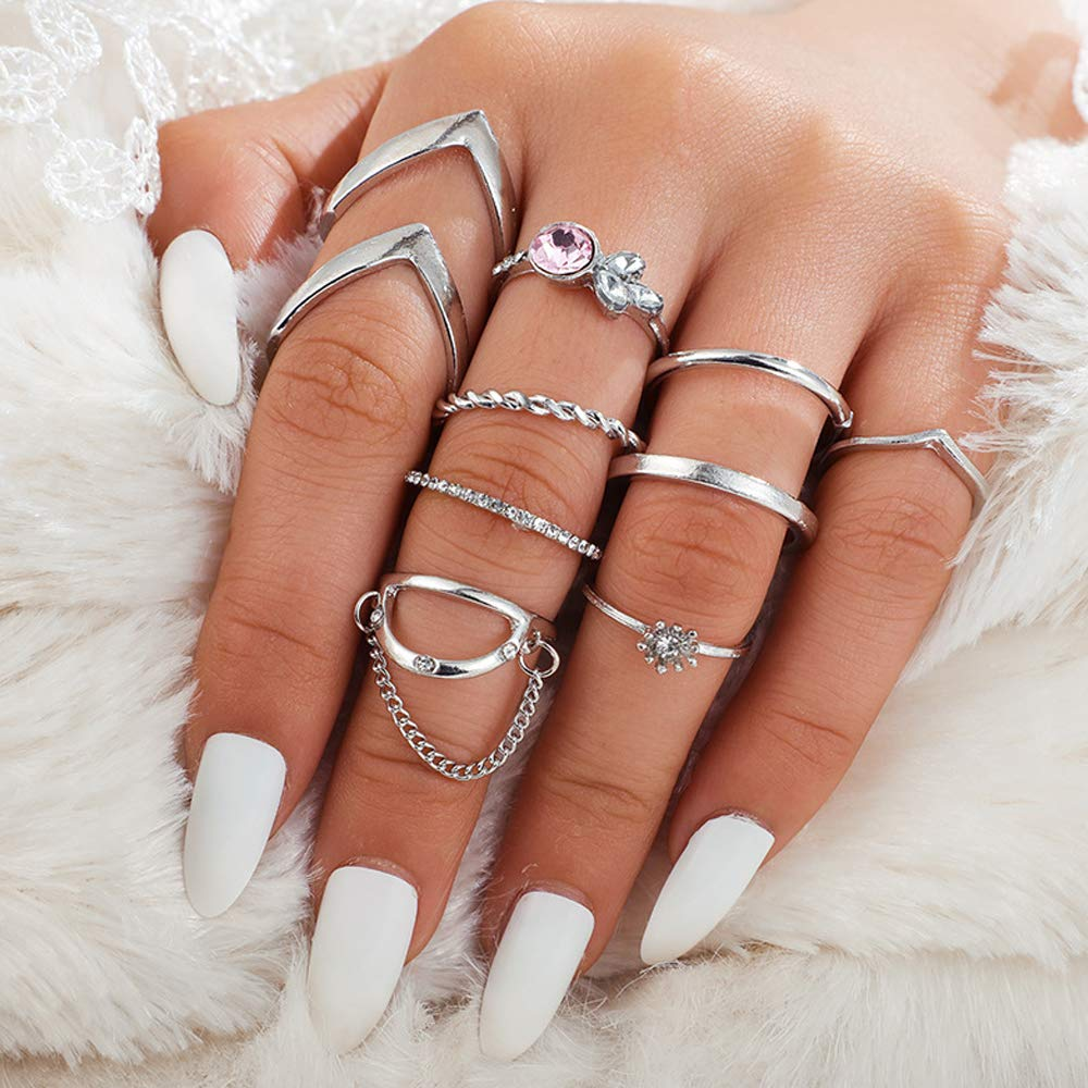 Missgrace 9 Piece Dainty Silver Sta Now on sale Minimalist Dallas Mall Ring Set Stacking
