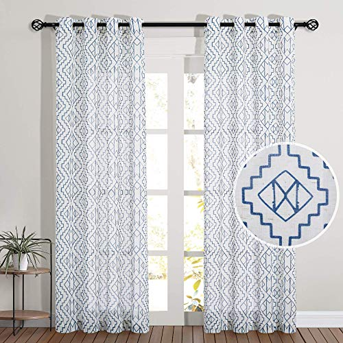 StangH Semi Sheer Curtains 84 inches Long for Sliding Door Boho Curtains Decorative Privacy & Sunlight Balance for Farmhouse/Hall/Cottage, Navy, W50 x L84 inches, 2 Panels