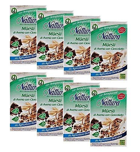 Nattura Muesli di Avena con Cioccolato Biologico Senza Latte Aggiunto Senza Olio di Palma e Senza Lievito - 8 x 300 Gram
