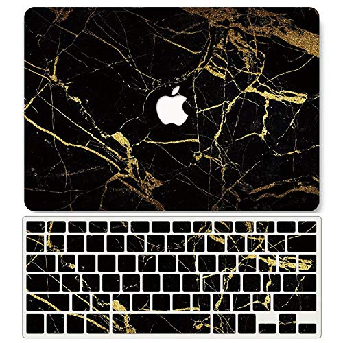 One Micron Case + Keyboard Cover Compatible with MacBook Pro Retina 13 Inch, Plastic Pattern Hard Case Shell Compatible MacBook Pro Retina 13.3 Inch No CD-ROM (Model: A1502/A1425)-Black Gold Marble