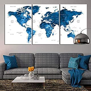 Large Wall Art Push Pin World Map Canvas Print - Extra Large Navy Blue World Map on White Background Wall Art Canvas Print