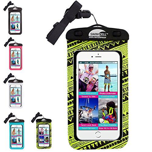 SwimCell funda impermeable para teléfono móvil, iPhone 6, 7Plus, iPad, Tablet, Samsung Tab, Kindle, reproductor de mp3, cámara, llaves, dinero, pasaporte. Probado para IPX8. 10m bajo el agua., pvc, amarillo neón, Large Phone 10cm x 19cm