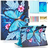 Dteck Slim Case for Tab A 9.7' 2015 Model (SM-T550) - Smart Wallet Protective Synthetic Leather Case with [Auto Sleep Wake] Pretty Folio Stand Cover for Samsung Galaxy Tab A 9.7 Inch-Butterfly Flower