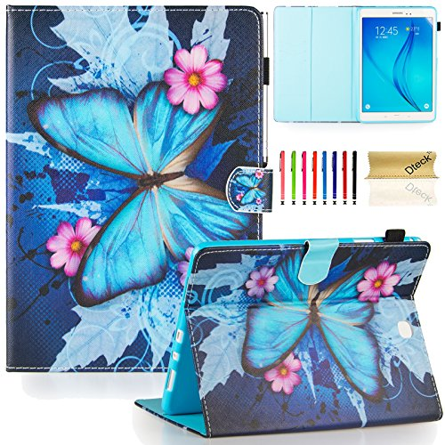 Dteck Case for Samsung Galaxy Tab A 9.7 Inch Tablet 2015 Release, SM-T550 /SM-P550 Case - Magnetic Closure Synthetic Leather Protective Wallet Stand Flip Slim Cover with Stylus Pen (Butterfly Flower)