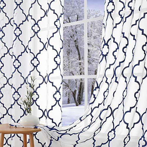 """Navy Blue White Embroidered Semi-Sheer Curtains for Boys Bedroom 63inch Light Filtering Window Drapes Textured Look Lattice Moroccan Pattern Curtain Panels for Living Room 52""""W x 2pcs Grommet Top"""
