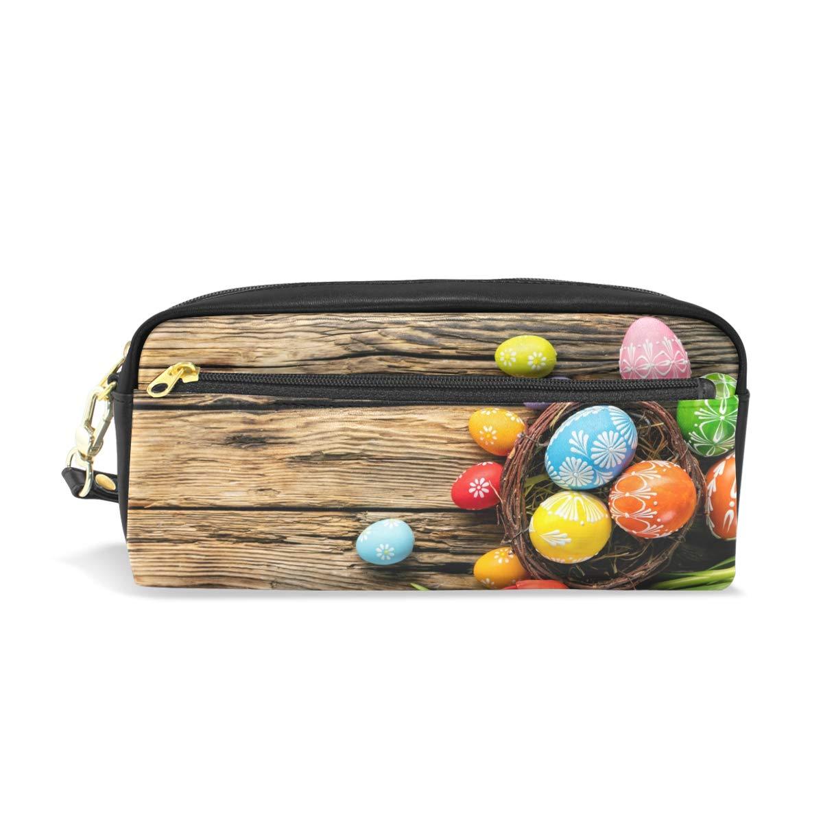 Estuche escolar de madera con diseño de huevos de Pascua para lápices y cosméticos, bolsa de viaje de gran capacidad: Amazon.es: Oficina y papelería