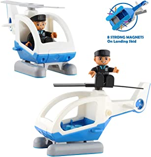 Flying Helicopter Toy Police Set with Magnets â Policeman Toys Add on Sets for Magnetic Blocks â Magnetic Tiles Expansion Kids Educational STEM Learning Toys for Boys and Girls( 2 Pack)